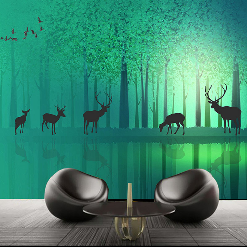 photo wallpaper high quality 3d stereoscopic elk fantastic blue forest wallpaper home wallpaper mural painting for living room book knowledge power channel creative 3d large mural wallpaper 3d bedroom living room tv backdrop painting wallpaper