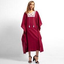 Ramada Muslim Women Long Sleeve Hijab Dress Maxi Abaya Jalabiya Islamic Women Dress Clothing Robe Kaftan Moroccan Embroidey 4.15