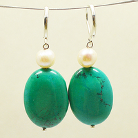Genuine White Color Freshwater Pearl Green Turquoises 925 Sterling Silver Dangle Earrings,Charming Women Gift Jewelry