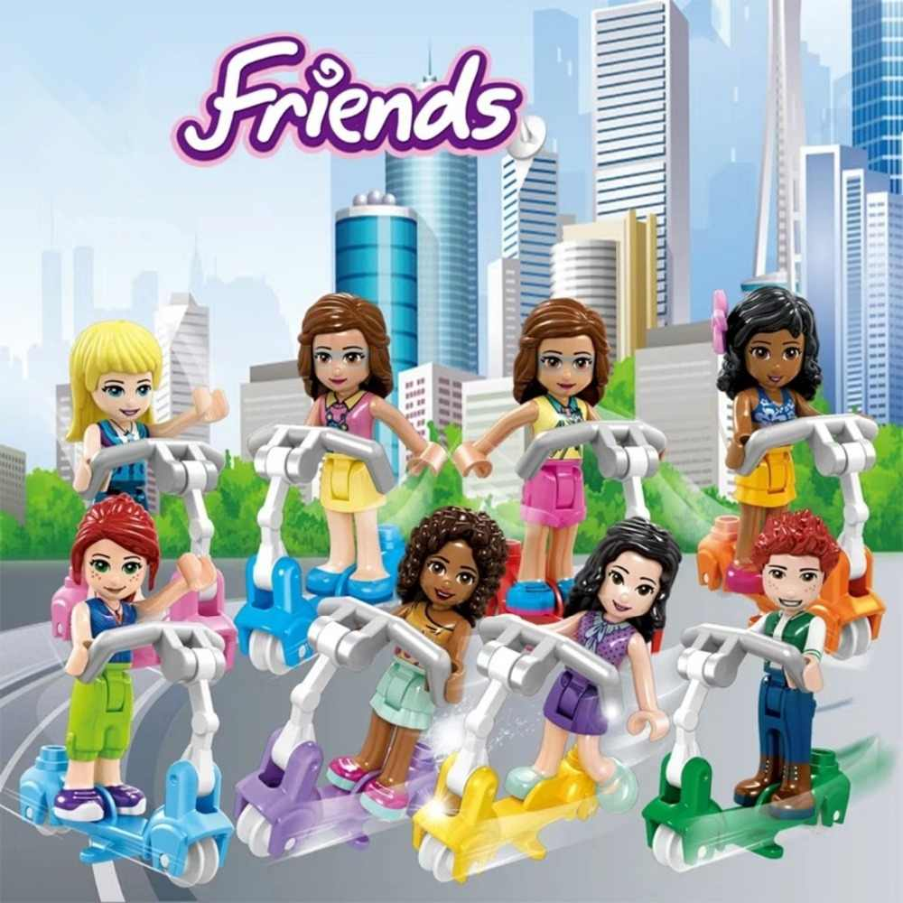 Girls Princess Series Heart Lake City Girls Scooter Model Building Blocks Friends for Girl Toys 4pcs/Set