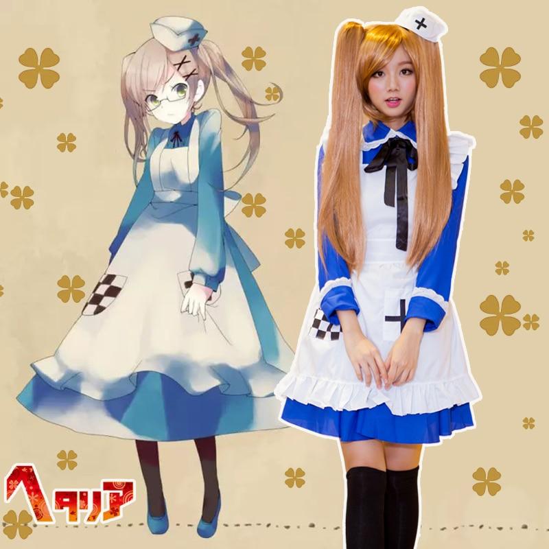 2Colors APH Axis Powers Hetalia Rosa Kirkland Blue/Pink Maid Uniform Cosplay Costumes Full Set Halloween Lolita Apron Dress