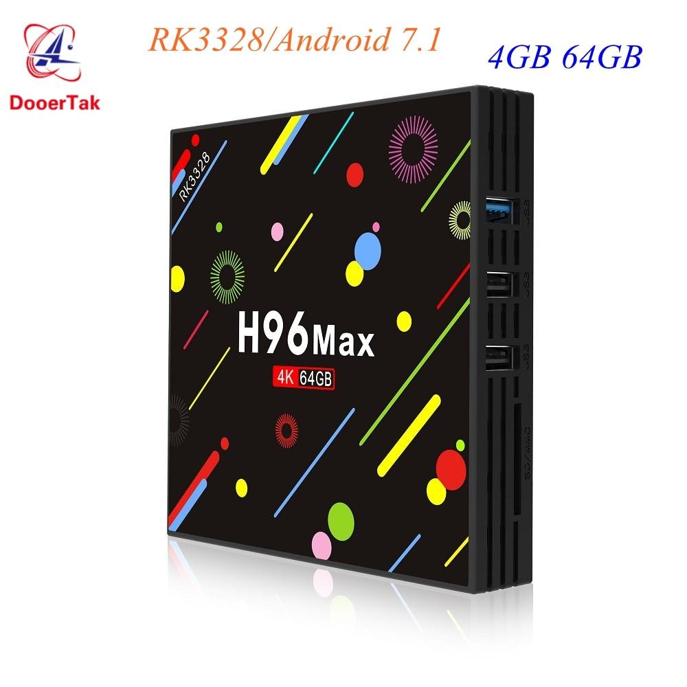 5pcs H96 MAX H2 LED Screen Android 7 1 Smart TV Box RK3328 Quad Core 4GB