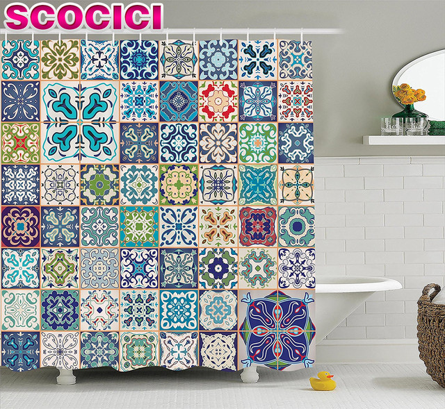 Moroccan Decor Shower Curtain Set Floral Patchwork Design With Arabesque Figure And Shapes Mediterranean Symbolic Artisan Work B