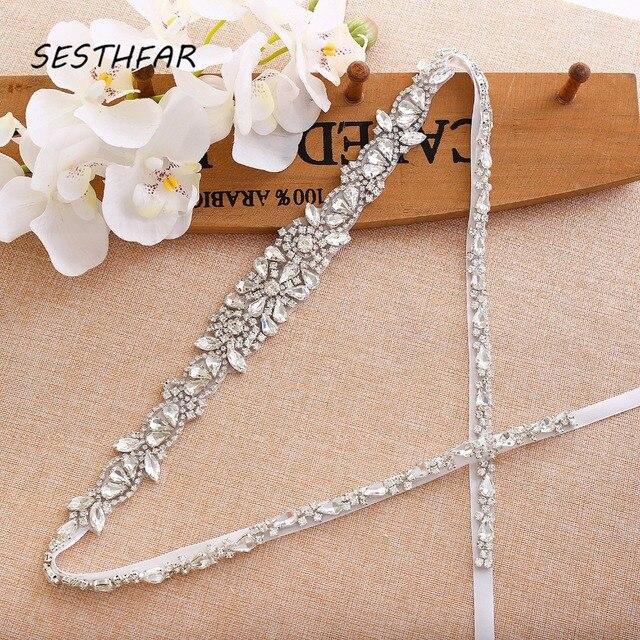 Pas dla nowożeńców kryształ kwiat szarfa ślubna srebrne kryształki pas ślubny skrzydła na druhny sukienki J138S
