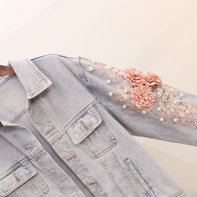 Décontracté Loose Outwear Poitrine Perles Poche Veste Femmes Floral Broderie Marque Unique Fit Denim Blue Designer wvqOFXPx