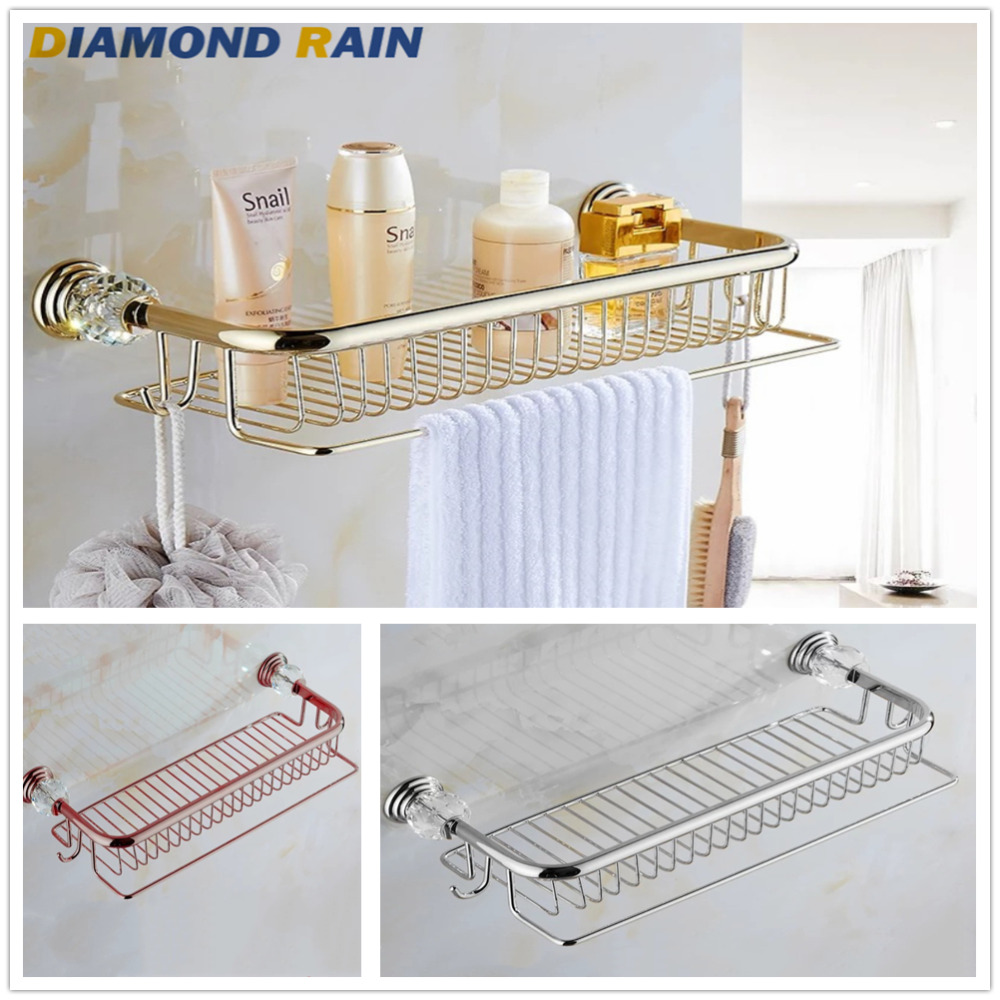 Crystal Gold Chrome Rose Gold Dual Tier Copper Bathroom Shelves With Towel Bar Hooks European Cosmetic