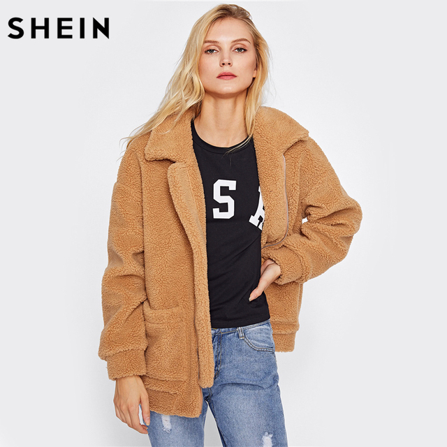 Aliexpress.com : Buy SHEIN Drop Shoulder Oversized Fleece Jacket ...