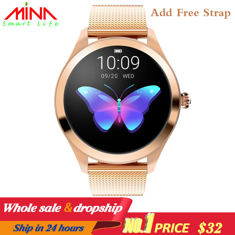 KW10 Smart Watch Women 2018 IP68 Waterproof Heart Rate Monitoring Bluetooth For Android IOS Fitness Bracelet