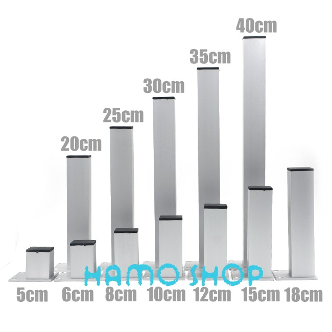 4pcs 20cm Aluminum Cabinet Feet Table Metal Furniture Legs Square Stand Base with Screws