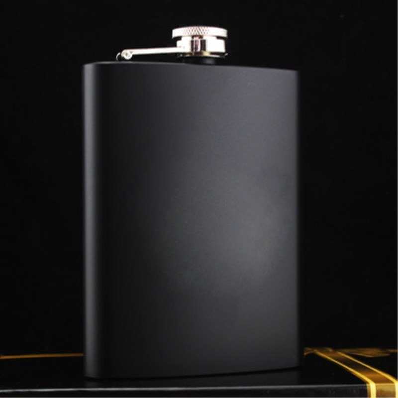 8oz Brief Style Black Stainless Steel Wine Hip Flask Outdoor Camping Whisky Bottle Individual Flask For Friend Gift