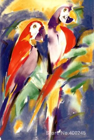Cadeau d'art perroquets rouges sur peinture à l'huile pourpre sur toile de haute qualité peint à la main