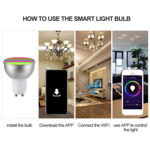 Image 4 - LED ampul AC85 265V 6W 4 adet LED lamba RGBW WIFI bağlı akıllı ampuller 16 milyon renk GU10 taban KTV ev partisi Deco