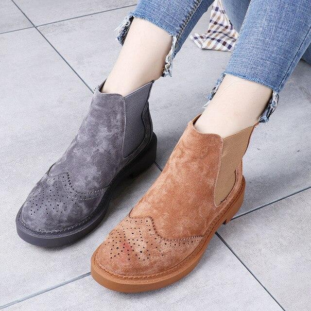 Lente Gesneden Lederen vrouwen Laarzen Martin Laarzen vrouwen Schoenen Chelsea Laarzen Preppy Stijl Platte Hakken Snoep 12 kleuren