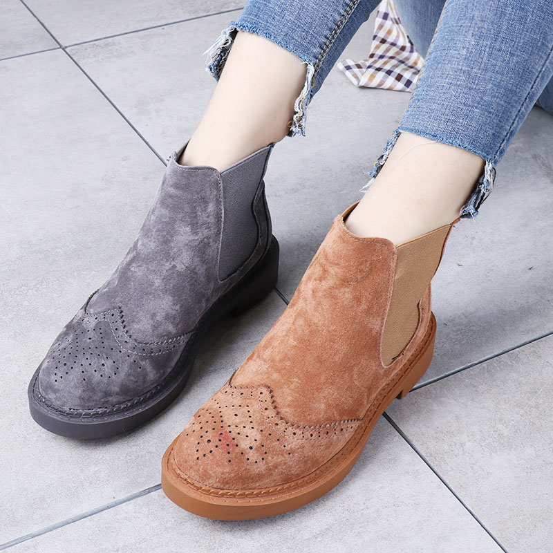 cheapest latest trends of 2019 release info on US $38.0 |Spring Carved Genuine Leather Women's Boots Martin Boots Women's  Shoes Chelsea Boots Preppy Style Flat Heels Candy 12 Colors-in Ankle Boots  ...