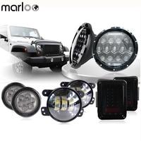 Marloo Wrangler 7 75W Daymaker LED Headlights w/ Fog Light With Smoke Turn Signal Light JK Taillight Set For Jeep 2007 2018