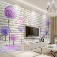 Custom Brick Pattern Photo Wallpaper Romantic Dandelion 3D Stereoscopic Brick Living Room TV Backdrop Bedroom Wallpaper