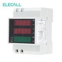 ELECALL D52-2047 AC80-300V 0-100A Voltímetro AC Amperímetro Medidor de Energia DIN Rail Digital Medidor De Energia Multifuncional