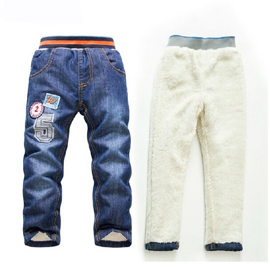 SK073 2015 Boys / girls warm thick winter pants boys jeans baby children boy / girls jeans retail