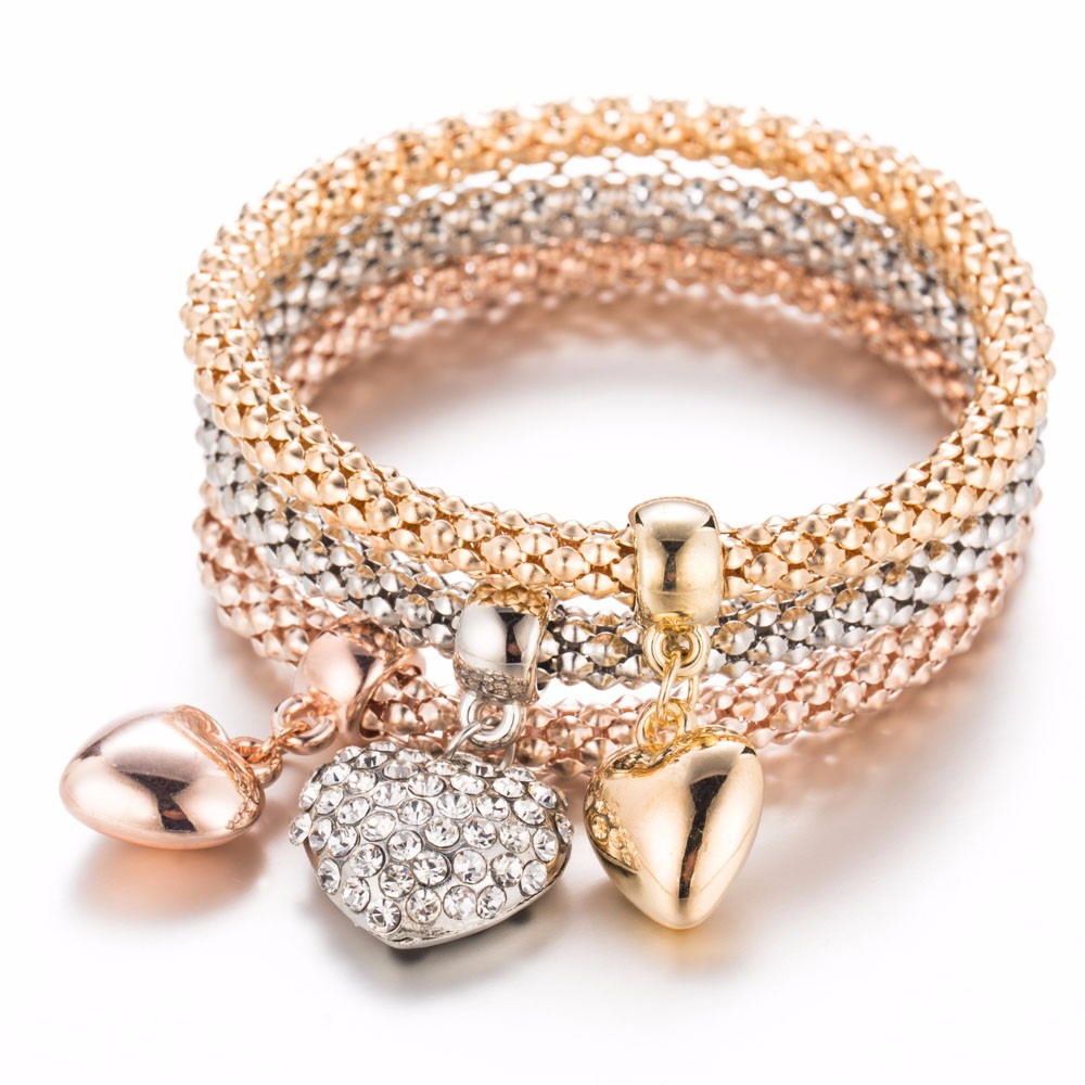 2016 New Fashion 3Pc/set Gold Silver Rose Gold Crystal Heart Elasticity Bangles Bracelets For Women Jewelry gift Wholesale