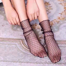 1 Pair Fashion Ultra Thin Women Ankle High Socks Ruffle Fishnet Mesh Lace Fish Net Perspective Short Socks fish mesh ankle socks with side bowknot