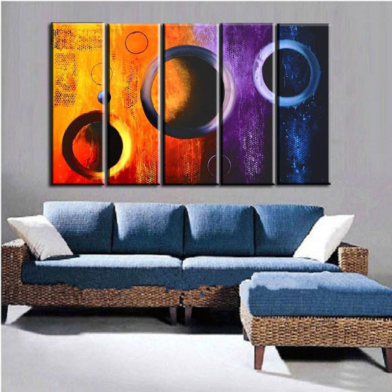 Canvas 5 Panel Pictures Home Decor Wall Art Acrylic Geometric Paintings Hand-painted Abstract Colorful Circles Oil Painting Set