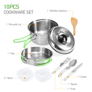 Image 2 - Lixada Camping Cookware Mess Kit Backpacking Hiking Picnic Outdoor Cooking Pot and Pan Set Cookset Tableware Cutlery Utensil Set