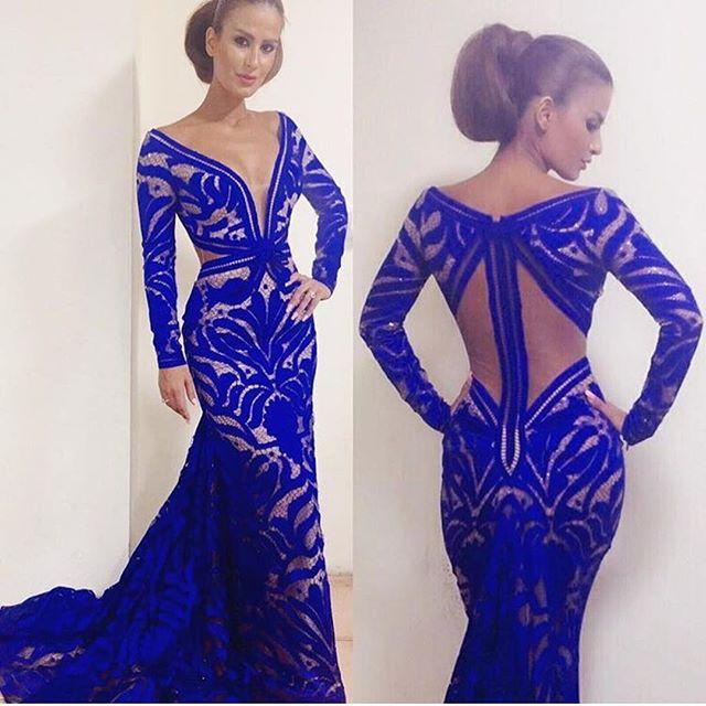 Sexy Long Sleeve Mermaid Royal Blue Evening Dresses V Neck Backless Lace  Formal Party peacock dress robe de soiree abendkleider 75a704e94398