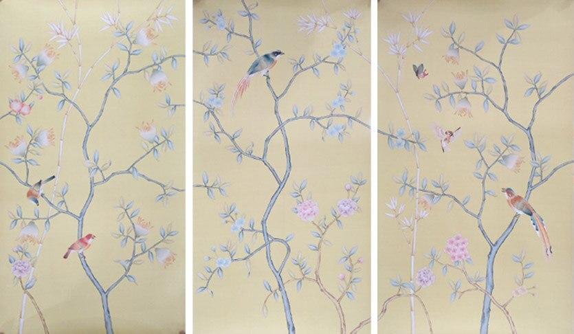 Ручная роспись шелковые обои Европейский стиль живопись цветы с Птица Ручная роспись стены бумаги много фотографий/фоны дополнительно
