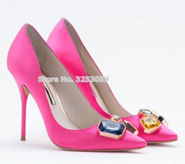 b3b9b8976e0658 ALMUDENA Pink Silk Cloth Big Gem Wedding Shoes Pointed Toe Bling Bling  Beaded Crystal Dress Pumps Multi-color Jewelry Party Shoe