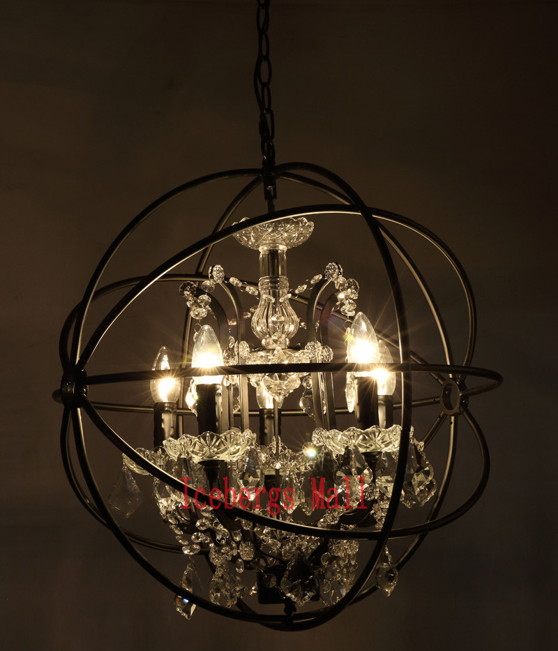 Nordic Iron Chain Cage Crystal Pendant Lights American RH Industrial Lamp Vintage Home Decor Hanging Light For Living Room3