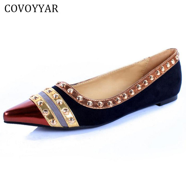 2018 Fashion Rivets Vintage Damens Flat Schuhes Fashion Pointed Toe Vintage Rivets faf6d6