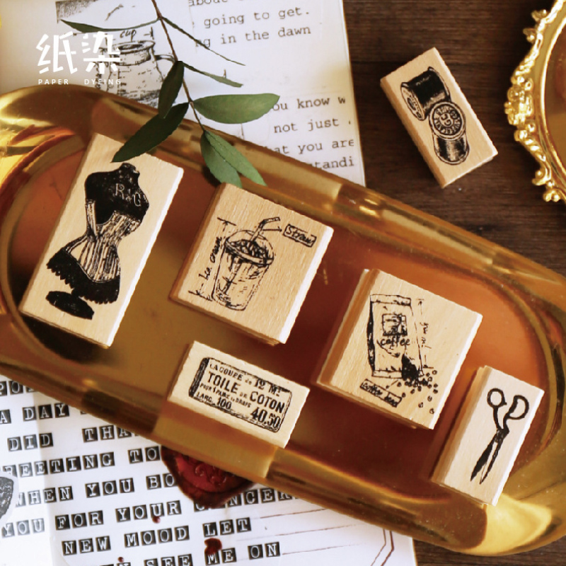 Vintage Sewing Machine Coffee Time Stamp DIY Wooden Rubber Stamps For Scrapbooking Stationery Scrapbooking Standard Stamp