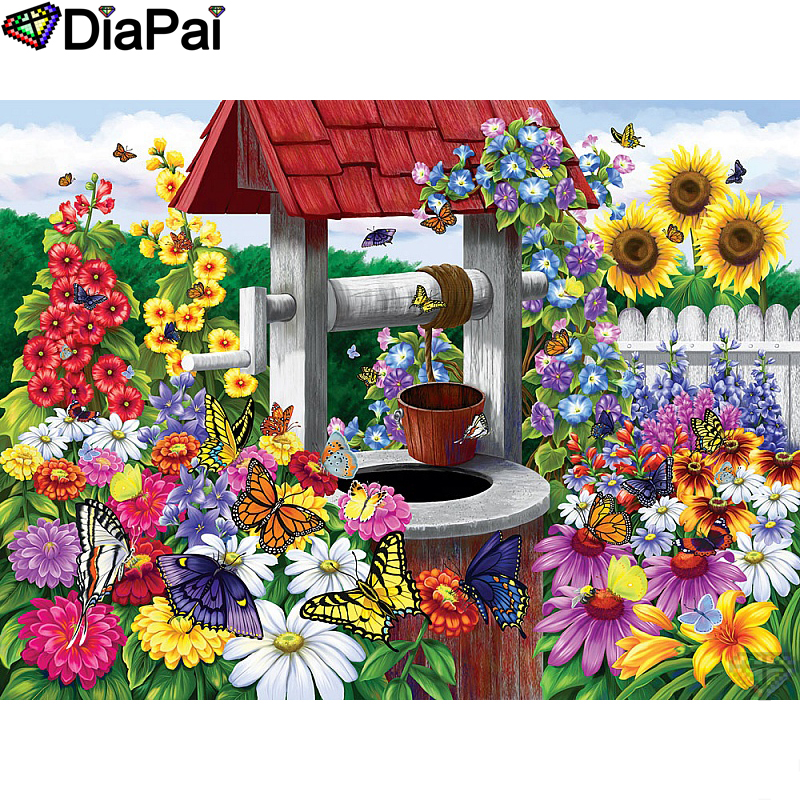 DIAPAI Diamond Painting 5D DIY 100 Full Square Round Drill quot flower well scenery quot Diamond Embroidery Cross Stitch 3D Decor A22037 in Diamond Painting Cross Stitch from Home amp Garden