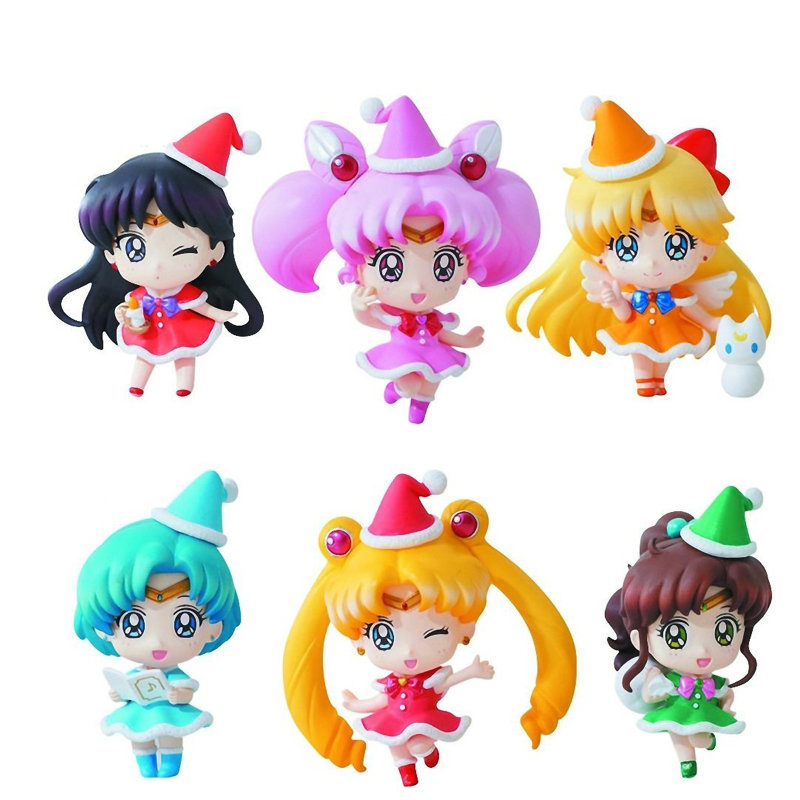 Sailor Moon Petit Chara ~Christmas Special~ 6 Figure Full Set Anime Toy 100% Original sailor moon capsule communication instrument machine accessory gashapon figure anime toy full set 100
