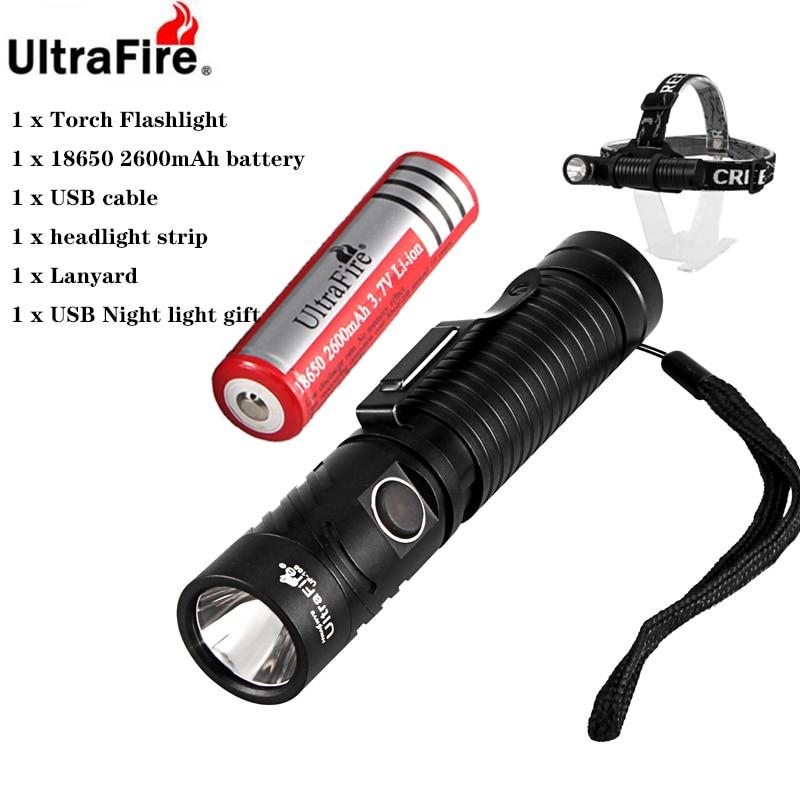 Ultrafire UF-168 18650 USB Charging Torch Headlight CREE XM-LT6 1200LM LED Work Light Magnetic Multifunction Illuminator 4 Mode
