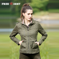 2015 Cool Design Women Jacket Army Green Slim Fit Regular Long Sleeved PU Embroidered Decorated Spring