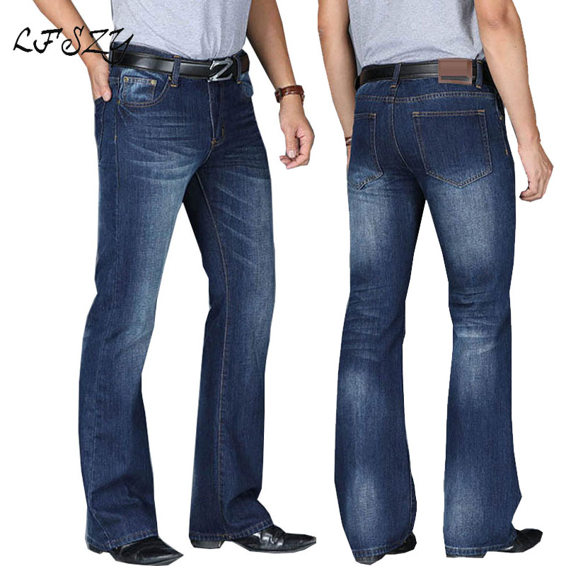 Jeans Men Pants Boot-Cut Leg-Flared Classic Modis Loose Male High-Waist Designer Fit title=