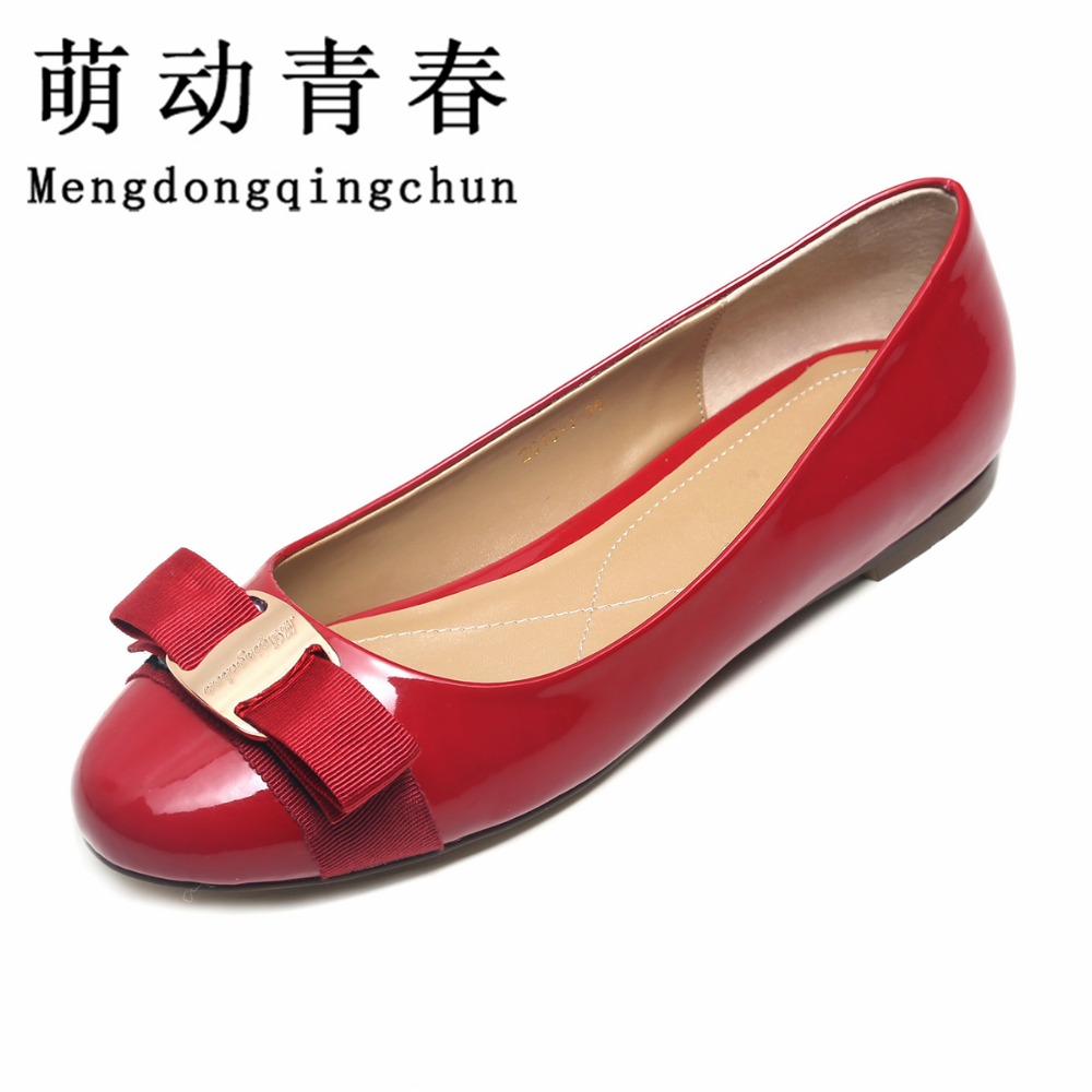Women Flats 2016 Summer Flat Shoes Women Bowtie Slip On Women's Wedding Shoes Ladies patient Leather Shoes Woman Zapatos Mujer plus size 34 43 new platform flat shoes woman spring summer sweet casual women flats bowtie ladies party wedding shoes