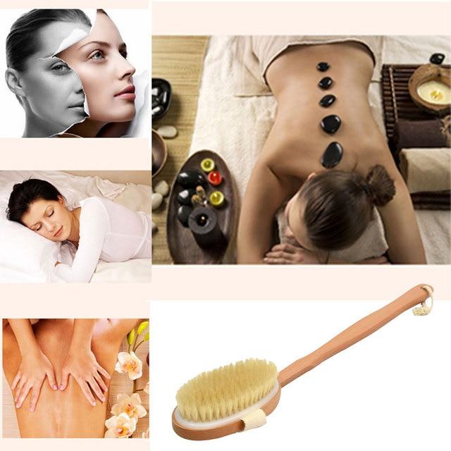 New 1Pc Qualified Shower Brush Natural Long Wooden Bristle Massager Bath Shower Back Spa Detachable Scrubber 3