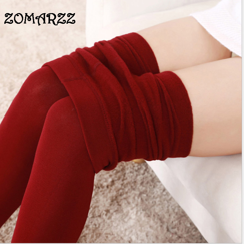 2018 New Napping Winter Brushed Warm Pantyhose Autumn Women Wearing Female New High Elastic Tights Extra large 9 Color