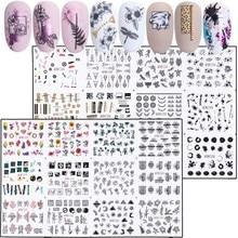 24 pçs misturados floral sexy leopardo prego adesivos definir verão carta decalques da arte do prego sliders transferência de água manicure JIBN1213 1236 1