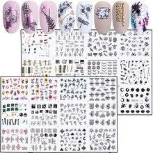 24pcs ผสมดอกไม้เซ็กซี่เสือดาวชุดสติกเกอร์เล็บชุดฤดูร้อนจดหมาย Decals Nail Art Water Transfer Sliders เล็บ JIBN1213 1236 1