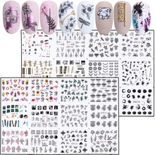 24pcs Mixed Floral Sexy Leopard Nail Stickers Set Summer Letter Decals Nail Art Water Transfer Sliders Manicure JIBN1213 1236 1