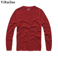 YiRuiSen Mens Solid Long Sleeve T Shirt 2016 Fashion100 Cotton S 3XL O Neck Long T