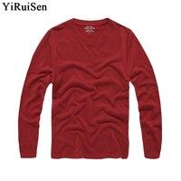 YiRuiSen Merk Mens Solid Lange Mouw T-shirt 2018 Fashion100 % Katoen S-3XL O-hals Lange T-shirt Mannen Kleding Herfst Dragen Tshirt