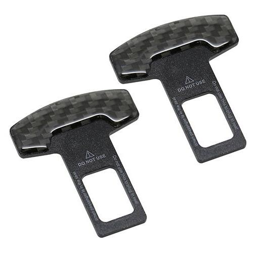1Pcs Black Durable Car Front Seat Belt Buckle Safety Insert With Warning Cable