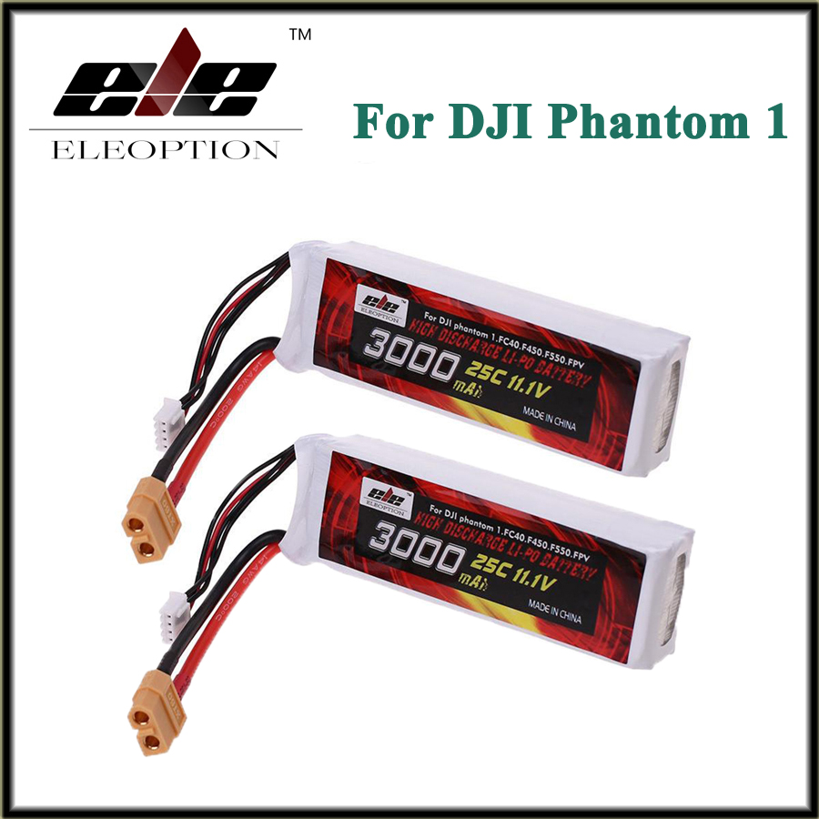 цена на 2x Eleoption Recharged Battery 11.1V 3000mah 25C XT60 Plug For DJI Phantom 1 FC40 DJI Flame Wheel F450 F550 FPV Quadcopter Li-po