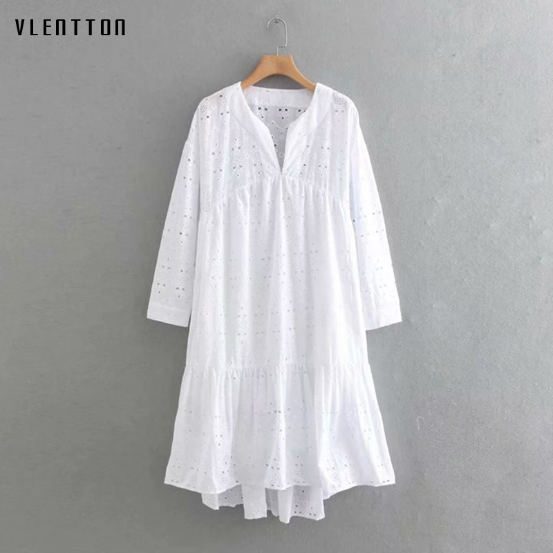 2019 New hollow out Dress Women V Neck Long Sleeve A Line Beach Dress Spring summer Casual White Dress Vestidos High Quality in Dresses from Women 39 s Clothing