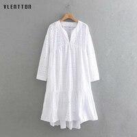 2019 New hollow out Dress Women V Neck Long Sleeve A Line Beach Dress Spring summer Casual White Dress Vestidos High Quality