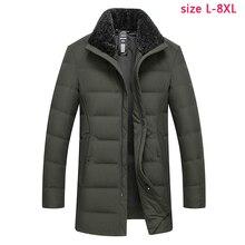 Новое поступление, Мужская зимняя утепленная куртка высокого качества, Модная белая куртка на утином пуху, Свободное пальто, большие размеры, L-6XL, 7XL, 8XL